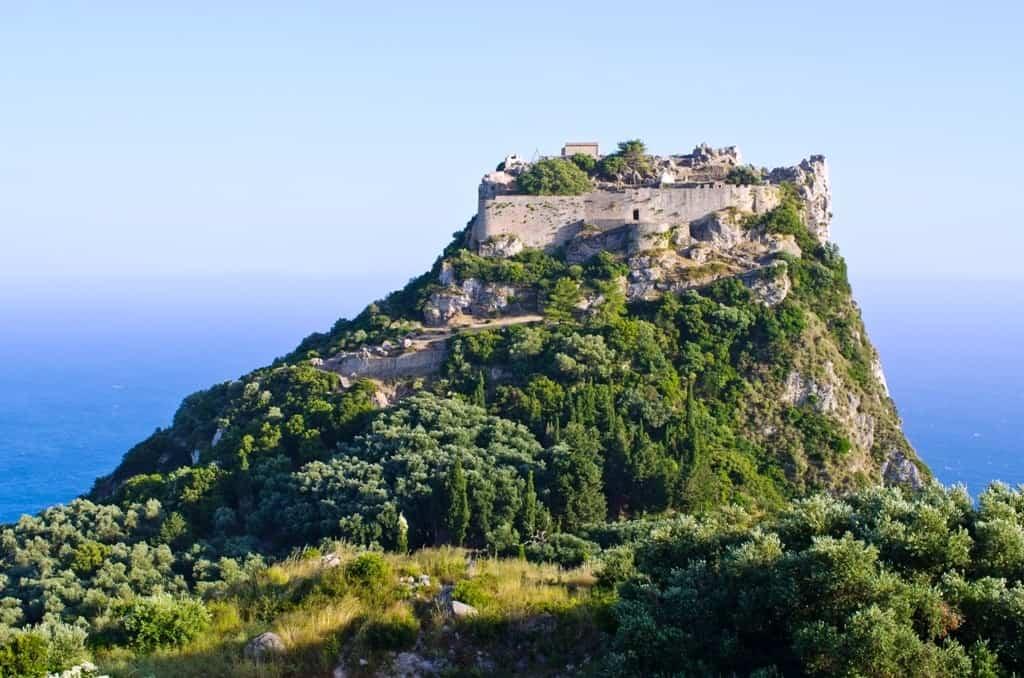 Old ruins of Angelokastro fortress Corfu island Greece min